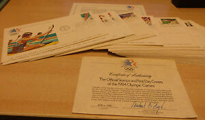 The official stamps first day covers of 1984 Olympic games set of 24 FDCs