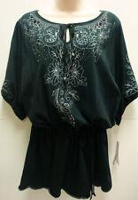 *NWT RXB Black Blouse/Top w/ Drawstring Waist sz Medium-Org $48 Super Cute!