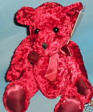 "Plush 7"" Burgundy Rose Bear with Burgundy Satin Ribbon; No Brand"