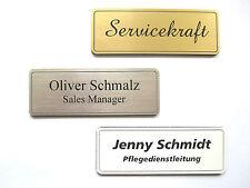 Namensschilder incl. Gravur mit Magnet oder Nadel silber- goldfarbig weiss