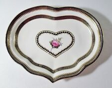 Antique Early 19th Century Derby Heart Dish Pink Rose/Heavy Gold (B)