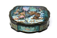 Russian Lacquer Box from Kholui, Hunting by Kostdrina. Museum quality piece.