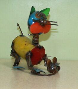 Metal Cat w/ Mouse Yard Art Folk Art Welded Garden Statue