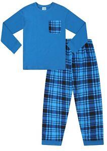 Blue Check Long Cotton  Pyjamas 9 to 16 Years