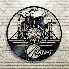 Drums Musical Instrument Band Drummer Studio Vinyl Wall Clock Music Gift Art