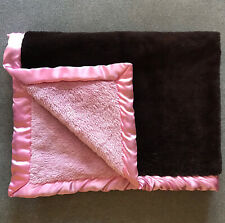 Koala Baby Pink and Brown Thick Plush Crib Blanket Satin Trim 30 x 40 Toys R Us