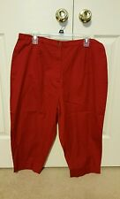 NWT NEW Charter Club Macy's Red Zip Front Capri Cropped Pants 16