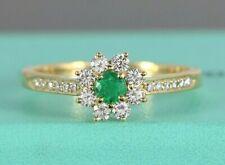 $6250 Tiffany Co 18K Yellow Gold Diamond Colombian Green Emerald Flower Ring 8.5