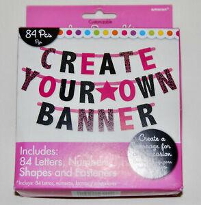 Amscan Customizable Pink & Black Letter Banner Kit 84pc