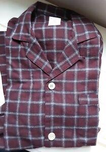 Brooks Brothers Mens Sz Small Plaid Flannel Pajama Set Shirt Pants Burgundy New