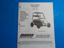 1998 Manco Machine Offroad Vehicle Model 485-25 485-291 Operators Supplement