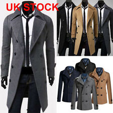 Hot Sale Men Gent Slim Fit Double Breasted Overcoat Trench Coat Jacket Outwear