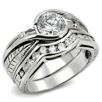1215 ENGAGEMENT WEDDING STERLING SILVER  SIMULATED DIAMOND RING SET  RING WOMENS