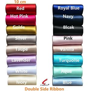 """10cm 4"""" 100mm Double Face Satin Ribbon Wedding Party SASHES  2 m Turquoise, Navy"""