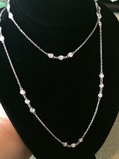 """14K GOLD GORGEOUS  2.95 CT. COUTURE 24"""" ROUND DIAMOND NECKLACE!!"""