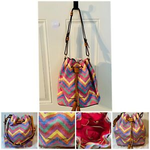 Dooney & Bourke Claremont Pink Multi Chevron Drawstring Bucket Purse Handbag