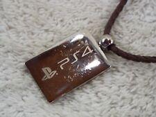 Playstation PS4 LOGO Silvertone Pendant Braided Brown Cord Necklace (D35)