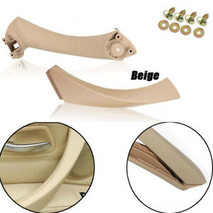 Beige Left Side Inner+Outer Door Panel Handle Pull Trim Cover For BMW E90 328i
