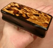 "ANTIQUE LARGE FAUX TORTOISE SHELL ""TABLE"" SNUFF BOX c1850 oversize snuff box"