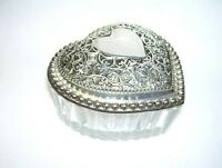 Glass Heart Trinket Box with Silver Lid