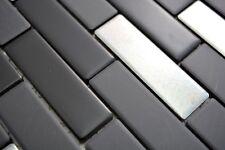 Mosaïque carreau céramique noir argent baguettes Trinity 26-0317_b   1 plaque