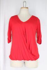 KAREN KANE Jersey Knit Top SMALL Red Wrap Front Bubble Hem Stretch V Neck