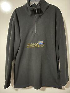 Reebok Denver Nuggets NBA Quarter Zip Sweatshirt Men's M Black Embroidered