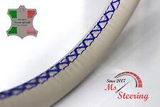 FOR SAAB 9-5 AERO 11-11 CREME LEATHER STEERING WHEEL COVER, ROYAL BLUE 2 STIT