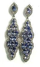 Rarities Carol Brodie Sterling Silver 8.2ct Tanzanite White Zircon Drop Earrings