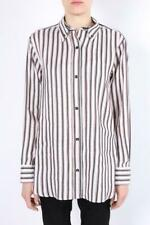 ISABEL MARANT Silk Linen Striped White Black Red Button Up Collar Shirt