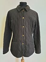 K174 WOMENS BARBOUR BLACK DIAMOND QUILTED POPPER JACKET UK 12 US 8 EU 38