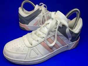Adidas Neo Hoops Team Womens Trainers Size 4 Uk White Pink Vgc