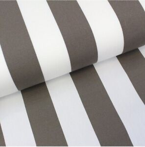 Deckchair Canvas, Bessie, Taupe & White Stripe, Heavy Duty, Per Meter