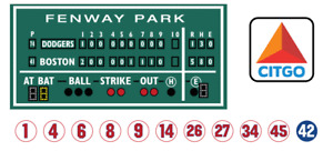 2.5' X 5.5' Green monster Boston sign 18x18 Citgo sign 11 retired numbers 6x6