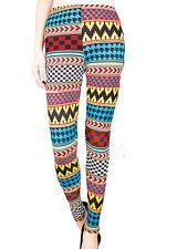 Multi Colored Retro Fashion Leggings LG / XL