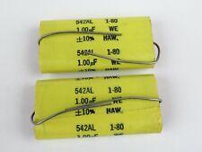 (2pc) Western Electric NOS 1uf 10% Film Capacitor 542AL