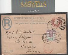 MS2137 1902 GB POSTMARKS *Shepperton J70* Middx KEVII Registered Stationery