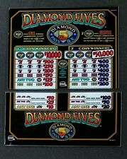 IGT Slot Machine DIAMOND FIVES 2 Coin HIGH LIMITS Top & Belly Glass Set