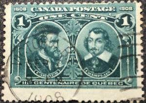 Scott #97 Cartier & Champlain 1908 1 Cent Canadian Stamp NH XF