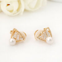 New 18K Gold Filled 10mm Crystal Triangle Cute Pearl Clip On Earrings Stunning