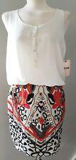 Womens Dress ZARA Trafaluc Tribal Mirror Ethnic Mini Skirt Ivory Red UK S £39.99