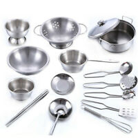 16PCS Set Kids Play House Kitchen Toys Cookware Cooking Utensils Pots Pans Gift