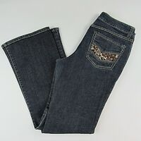 Cache Womens Boot Cut Jeans Size 10 Low Rise Dark Wash Blue  Sequin Embellished