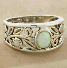 ANTIQUE STYLE 925 SOLID STERLING SILVER LAB OPAL RING SIZE 9,               #863