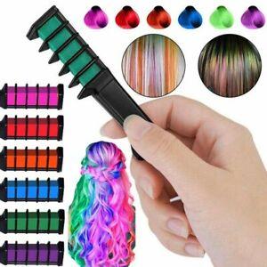 6pcs/Set Temporary Hair Chalk Hair Color Comb Dye Salon Kits Fans Party X7V8