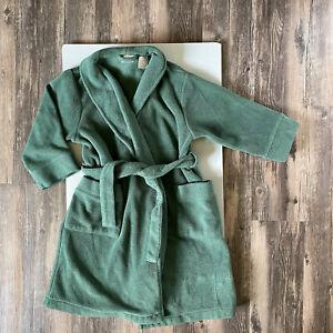 LL BEAN Kids Girls Boys Fleece Bath Robe Pockets Size Medium 5/6 Green