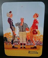 """NORMAN ROCKWELL """"COIN TOSS"""" FOOTBALL PLAYERS WITH UMPIRE METAL TIN COLLECTIBLE"""