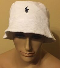 polo ralph lauren bucket Hat   Cotton  Hat White Large / XLarge Only 2 Left