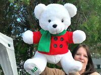 "Dan Dee 2012 Holiday White Teddy Bear Beauty LARGE 20"" Plush Stuffed Animal Toy"