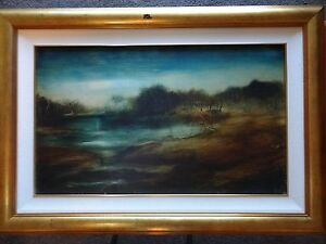 """PRO HART Original Painting - LARGE OIL PAINTING TITLED """"LAKE VIEW"""""""